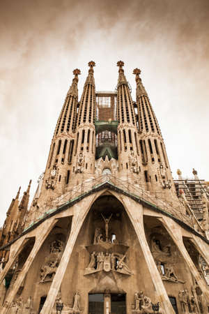 barcelona cathedral: Frontal view of this architecture masterpiece, La Sagrada Familia by Antoni Gaudi. Picture without cranes, cleaned digitally. Barcelona.
