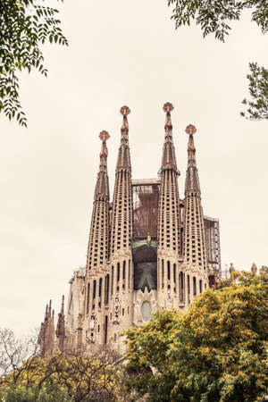 General view of this architecture masterpiece, La Sagrada Familia Picture without cranes, cleaned digitally. Barcelona.