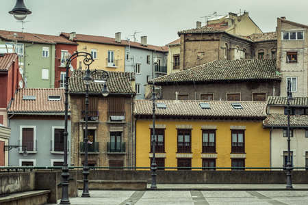 navarra: View of a little square of pamplona in a cloudy day. Navarra.