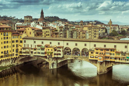 firenze: View of Ponte Vecchio in the afternoon. Firenze, Italy.