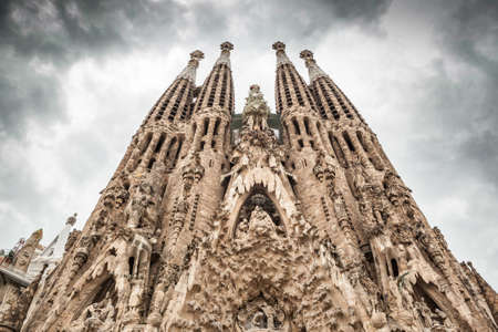 Frontal view of La Sagrada Familia. Picture without cranes, cleaned digitally. Barcelona.