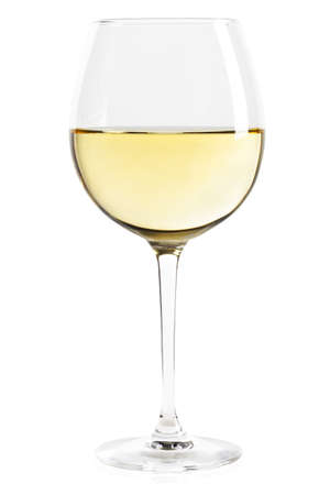 white wine glass: White wine glass isolated on white. Stock Photo