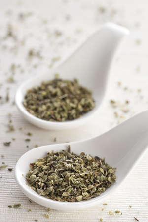 Dried oregano on a two white ceramic spoons. Stock Photo - 20391487