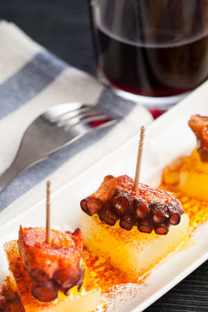 Portion of a spanish octopus called tapa or pincho, with red wine. photo