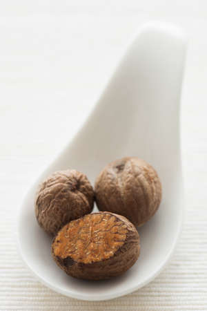 Nutmeg on a white ceramic spoon with natural light. photo