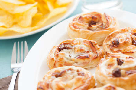 Delicious homemade appetizer, with chips, ready to eat.