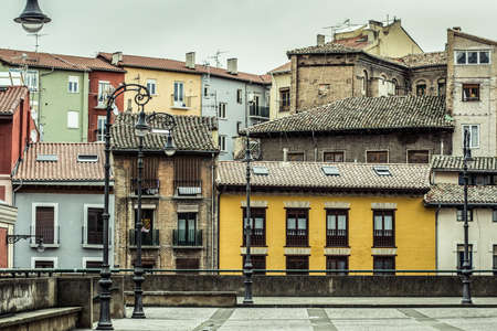 View of a little square of pamplona in a cloudy day  Navarra  photo
