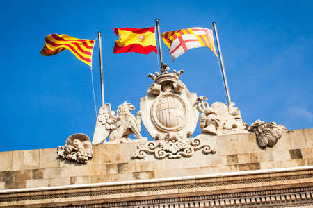 Detail of a flags in the Sant Jaume square in Barcelona