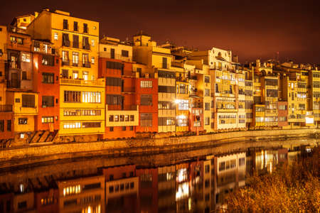 Night view of the picturesque City of Girona.