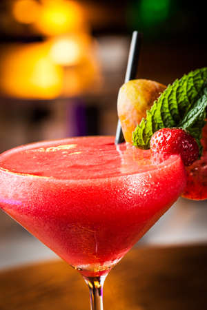 Great strawberry daiquiri in a night club