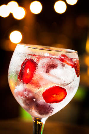 Cold Gin Tonic ready to drink. Stock Photo