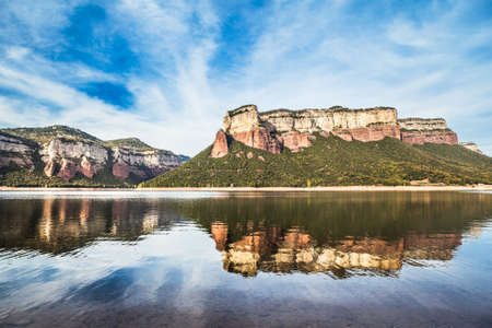 Nature landscape of Sau Lake in Barcelona province.