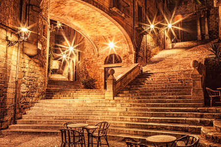 Picturesque old quarter of Girona at night. Stock Photo