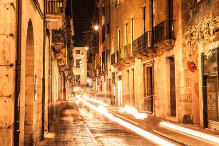 Girona old quarter at night. Carrer Ciutadans.
