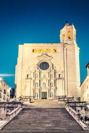 The most important architecture piece of Girona, Girona Cathedral with its baroque facade and the big staircase at night.