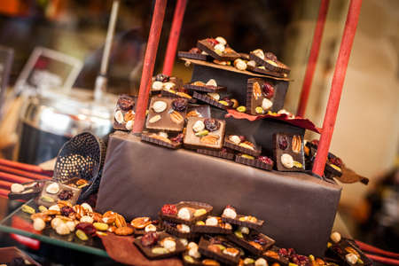 Belgian chocolate shop with natural light.