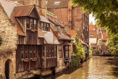 Picturesque canal of Bruges in a sunny day.