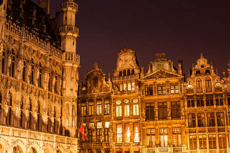 Detail of facades in Grand Place in Brussels at night. Belgium. Stock Photo