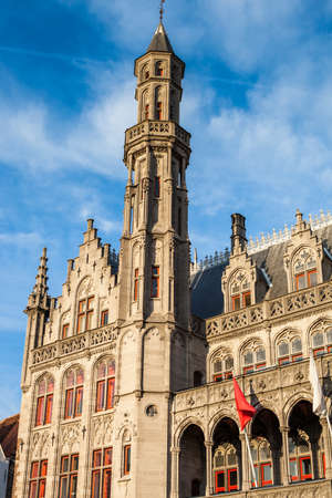 Detail of the facades of Markt Place in Bruges.