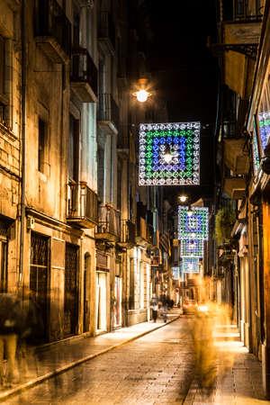 old quarter: Girona old quarter at night. Stock Photo