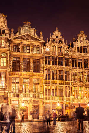 Detail of facades in Grand Place in Brussels at night. Belgium. Editorial