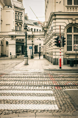 Old street of Brussels with vintage colors. photo