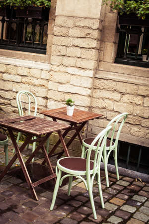 Detail of outdoor cafe chairs. photo