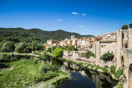 Besalu, small medieval village in Girona. Costa Brava. Stock Photo