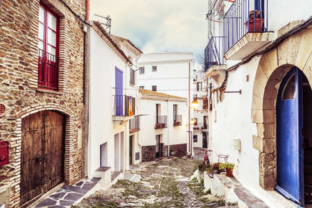Typical white streets of Cadaques, Costa Brava. photo