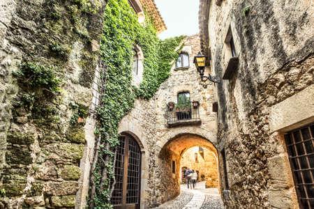 Picturesque medieval village of Pals, Costa Brava. Stock Photo
