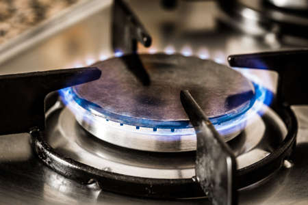 oven range: Old cook detail macro picture. Stock Photo