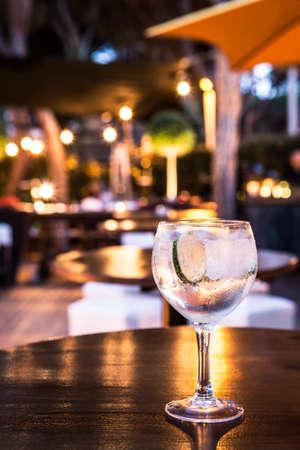 Great Gin Tonic in a night pub. Stock Photo