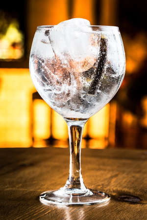 Great Gin Tonic in a night pub. Stock Photo