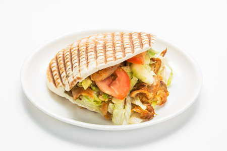 Doner kebab isolated on white background.