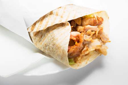 Doner kebab isolated on white background. Stock Photo - 30160569