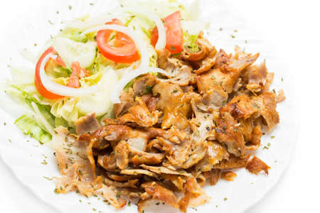doner: Dish of kebab meat ready to eat.