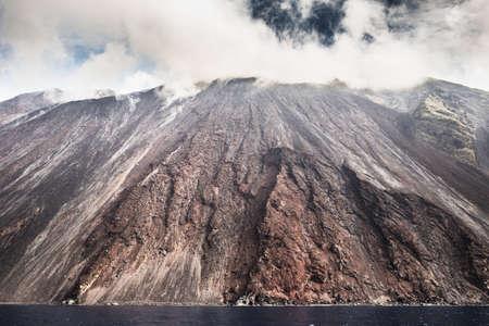eolian islands: Sciara del fuoco in Stromboli  volcano island, Sicily, Italy.