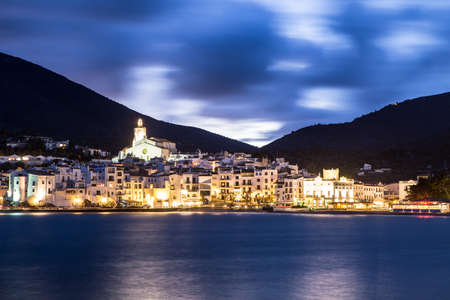 costa brava: Night landscape of Cadaques, Costa Brava. Spain.