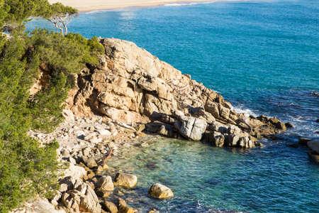 costa brava: Plage paysage de Calonge, Costa Brava. Espagne.
