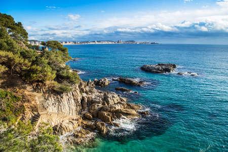 Beach landscape of Calonge, Costa Brava. Spain. Stock Photo