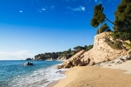 costa brava: Beach landscape of Calonge, Costa Brava. Spain. Stock Photo