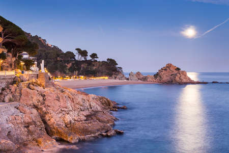 costa brava: Night landscape of Tossa de Mar, Costa Brava. Spain.