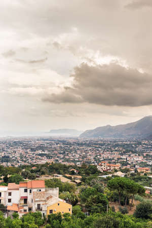 Panoramic view of Palermo from Monreale in cloudy day. photo