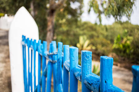 panarea: Typical wood fence in Panarea island, Sicily. Stock Photo