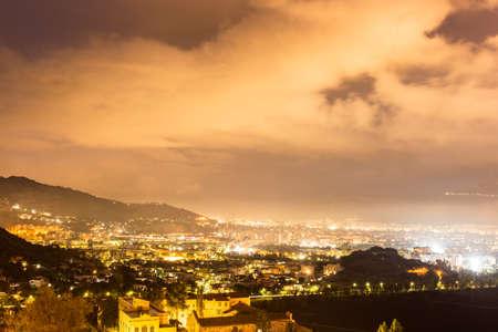 Night view of Palermo, sicily island. photo