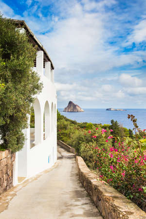 panarea: Typical view of Panarea island in aeolian islands, sicily. Stock Photo