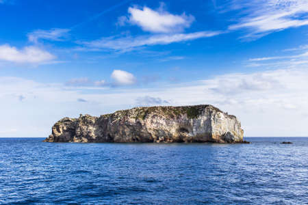 aeolian: Aeolian islands view from the sea in a cloudy day. Stock Photo