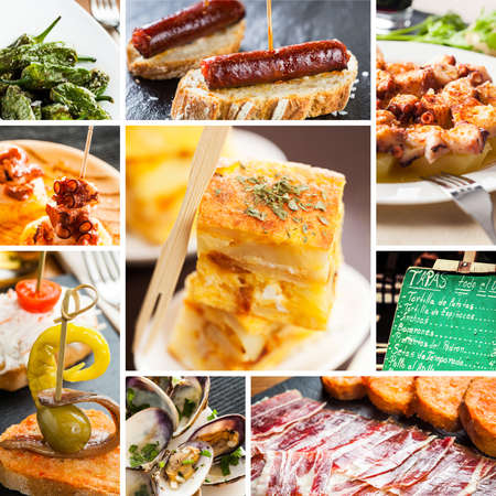 Collage of typical spanish tapas food.