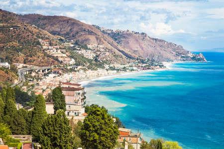 Landscape from village of Taormina, Sicily. Italy. Stock Photo