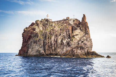 aeolian: Aeolian island lighthouse, sicily. Italy.